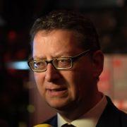 Thorsten Schäfer-Gümbel (SPD), Spitzenkandidat und Landesvorsitzender der SPD Hessen, äußert sich auf der Wahlparty zu den Hochrechnungen zur Landtagswahl.