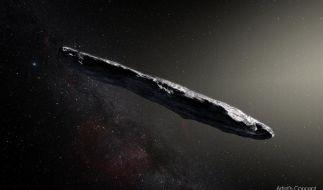 """Diese künstlerische Darstellung zeigt den Asteroiden 1I/2017 U1 """"Oumuamua"""". (Foto)"""