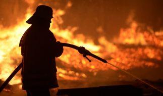 Feuerwehrmann beim Löschen eines Brands: Beim Silvesterfeuer in Scheveningen (Niederlande) entstand ein gefährlicher Feuertornado. (Symbolbild) (Foto)