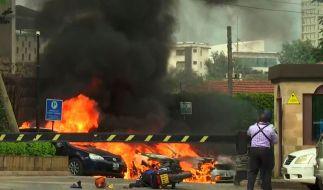 Dieser Ausschnitt aus dem Video zeigt eine Szene einer Explosion in Kenias Hauptstadt. (Foto)
