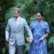 Prinz Harry und seine Frau Meghan, Herzogin von Sussex, verlassen die königliche Residenz während des dritten Tages ihrer Marokko-Tour.