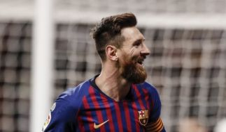 Superstar Lionel Messi jubelt: Barca beschert Real die nächste Niederlage. (Foto)