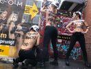 Femen-Aktivistinnen reißen einen Sichtschutz in Hamburgs Rotlichtviertel ein. (Foto)