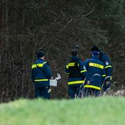 Mitglieder einer Spezialgruppe des THW suchen mit einem Bodenradargerät in einem Wald bei Storkow nach Rebecca.