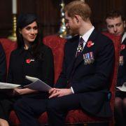 Prinz William, Prinz Harry und dessen Frau Meghan Markle bei einem Gottesdienstin der Westminster Abbey.