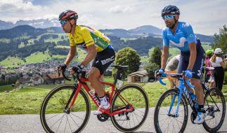 Richie Porte (l) aus Australien und Jose Rojas aus Spanien bei der Tour de Suisse 2018. (Foto)