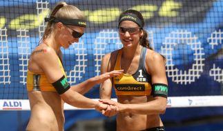 Bei der Beach-Volleyball Weltmeisterschaft in Hamburg spielen die beiden deutschen FrauenSandra Ittlinger und Chantal Laboureur um den Titel. (Foto)