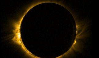 Bei einer totalen Sonnenfinsternis schiebt sich der Mond komplett vor die Sonne. (Foto)