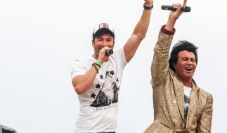 Costa und Lucas Cordalis beim Schlagermove 2014 in Hamburg. (Foto)