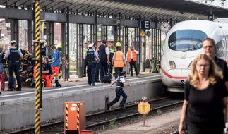 Ein ICE steht am Gleis 7 des Frankfurter Hauptbahnhofs, nachdem es bei der Einfahrt des Zuges zu einem Zwischenfall mit einem Kind kam. (Foto)