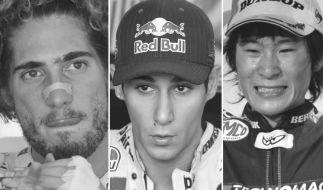 Sie alle starben nach schweren Unfällen im Motorsport: Marco Simoncelli, Luis Salom undShoya Tomizawa. (Foto)