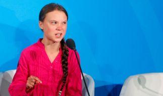 Klimaaktivistin Greta Thunberg während ihrer Rede beim UN-Klimagipfel bei den Vereinten Nationen. (Foto)