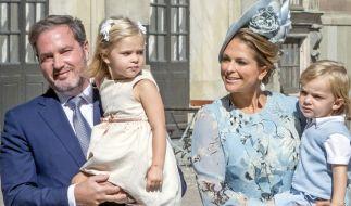 Prinzessin Madeleine von Schweden mit ihrem Ehemann Chris O'Neill und den Kindern Prinzessin Leonore und Prinz Nicolas. Nesthäkchen Prinzessin Adrienne hat die Familie inzwischen komplettiert. (Foto)