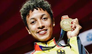 Weitspringerin Malaika Mihambo triumphiert mit Goldmedaille bei der Leichtathletik-WM in Doha 2019. (Foto)