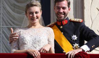 Prinzessin Stéphanie und Guillaume,Thronfolger des Großherzogs von Luxemburg an ihrem Hochzeitstag (Foto)