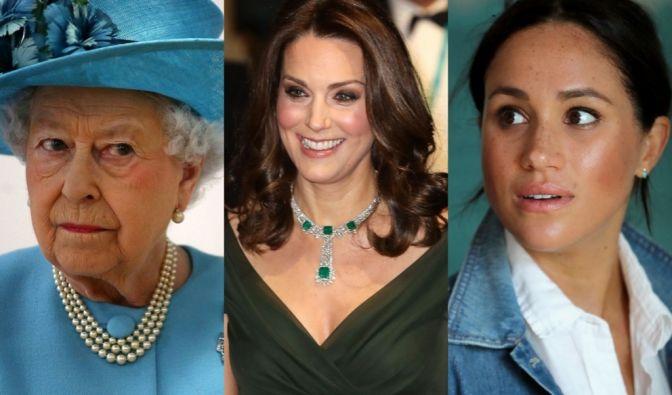 Kate Middleton, Meghan Markle, Queen Elizabeth II.
