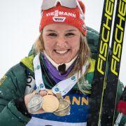 Denise Hermann wurde beim Biathlon Weltcup 2018/19 Weltmeisterin, holte Silber in der Mixed-Staffel und Bronze beim Massenstart.