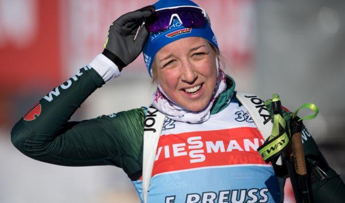 Franziska Preuß wurde Vierte im Einzel bei Olympia 2017/18 und Zweite beim Biathlon Weltcup 2019. (Foto)