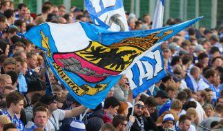 Mit Fahnen unterstützen die Fans von den Rängen aus den MSV Duisburg. (Symbolbild) (Foto)
