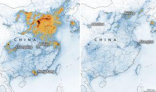 Die Karten zeigen die Konzentrationen von Stickstoffdioxid (NO2) in ganz China vom 1. bis 20. Januar 2020 (vor der Quarantäne wegen des Coronavirus) und vom 10. bis 25. Februar (während der Quarantäne). (Foto)