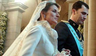 Am 22. Mai 2004 gaben sich Prinz Felipe von Spanien und seine Verlobte Letizia Ortiz Rocasolano das Ja-Wort. (Foto)