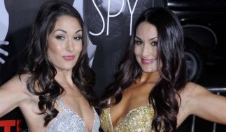 Nikki (links) und Brie Bella ziehen im Netz blank. (Foto)