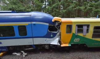 Beim Frontalzusammenstoß zweier Personenzüge auf einer Strecke durch das Erzgebirge zwischen Tschechien und Deutschland hat es Tote und Verletzte gegeben. (Foto)