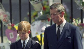 Der britisch Prinz Charles und Prinz Harry während des Trauerzuges für Prinzessin Diana. (Foto)