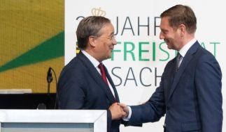 Michael Kretschmer empfängt Armin Laschet. (Foto)