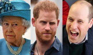 Queen Elizabeth II. und ihre Enkel Prinz Harry und Prinz William fanden sich diese Woche in den Royals-News wieder. (Foto)