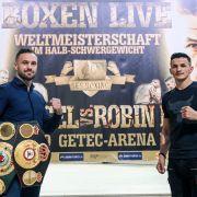 Domic Bösel (l) verliert seine WM-Gürtel gegen Robin Krasniqi durch KO in der 3. Runde