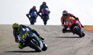 Beim MotoGP-Rennen zum Großen Preis von Aragón liefern sich die Motorrad-Piloten eine erbitterte Schlacht. (Foto)