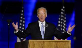 """Joe Biden, """"Gewählter Präsident"""" (""""President Elect""""), hält nach seinem Sieg eine Ansprache. (Foto)"""