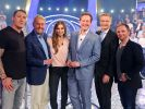 Wer wird Millionär am 10.11.2020 auf RTL - v.l.: Stefan Kretzschmar, Jörg Wontorra, Laura Wontorra, Dr. Eckart von Hirschhausen, Moderator Günther Jauch und Ralf Schmitz. (Foto)