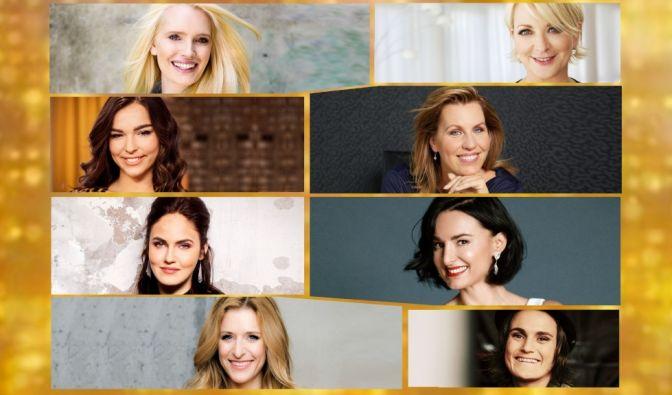 Mirja du Mont, Ulla Kock am Brink, Lili Paul-Roncalli, Nicole Staudinger, Elena Carrière, Mimi Fiedler, Stefanie Hertel und Nadine Angerer (v.l.) werden bei