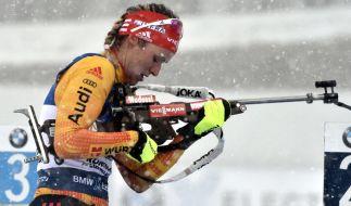 Denise Herrmann aus Deutschland in Aktion beim Biathlon-Weltcup in Kontiolahti (Finnland). (Foto)