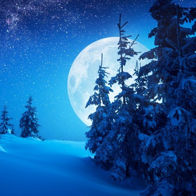 Eiskalter Langer-Nacht-Mond erhellt den Himmel (Foto)