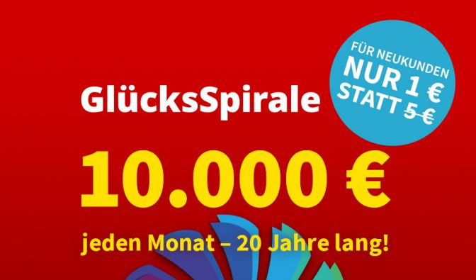 GlücksSpirale am Samstag – 4 € Rabatt sichern