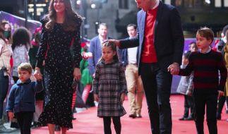 V.l.n.r.: Prinz Louis (2), Herzogin Catherine (39), Prinzessin Charlotte (5), Prinz William (38) und Prinz George (7). (Foto)