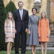 Kronprinzessin Leonor, König Felipe, Königin Letizia und Infantin Sofia von Spanien.