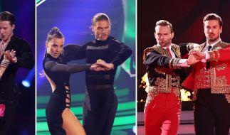 """Die Tanzpaare Valentina Pahde und Valentin Lusin, Rurik Gislason und Renata Lusin und Nicolas Puschmann und Vadim Garbuzov (v.l.n.r.) stehen im Finale der RTL-Tanzshow """"Let's Dance"""". (Foto)"""