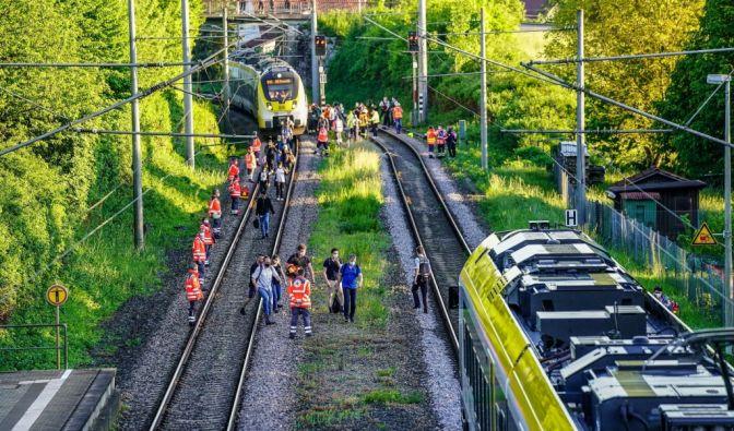 Zug-Unglück in Oppenweiler (Baden-Württemberg)