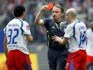 Schiedsrichter Lutz Wagner zeigt dem Hamburger Änis Ben-Hatira die Rote Karte wegen groben Foulspiels (2007). (Foto)
