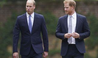 Prinz William und Prinz Harry kommen zur Enthüllung einer Statue ihrer Mutter Prinzessin Diana. (Foto)