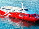 """Die Aufnahme zeigt dieKatamaran-Schnellfähre """"San Gwann"""" der deutschen Reederei FRS. (Foto)"""