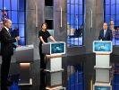 Scholz, Baerbock und Laschet beim letzten TV-Triell. (Foto)