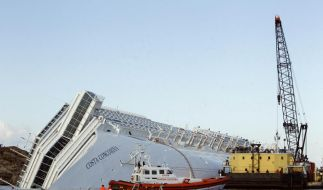 A sea platform carrying a crane approaches the grounded cruise ship Costa Concordia off the Tuscan i (Foto)