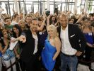 Alex Christensen, Michelle Leonard und Detlef D! Soost beim Casting in München. (Foto)