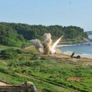 Als Warnung an Kim Jong Un hielten die Vereinigten Staaten eine Raketenübung ab.
