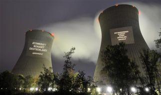 An allen zwölf Standorten von Atomkraftwerken in Deutschland projizierten Greenpeace-Aktivisten am f (Foto)